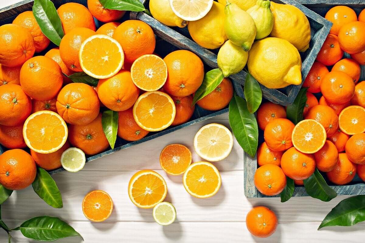 A variety of citrus fruits.