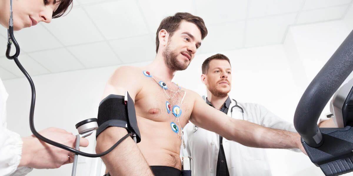 An athlete undergoing a cardiac stress test.