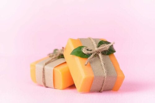 Two soap bars with a pretty package.