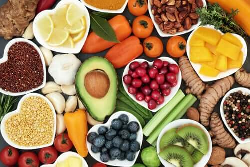A wide variety of healthy, plant-based foods.