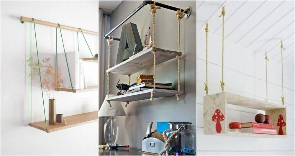A few hanging rope shelves.