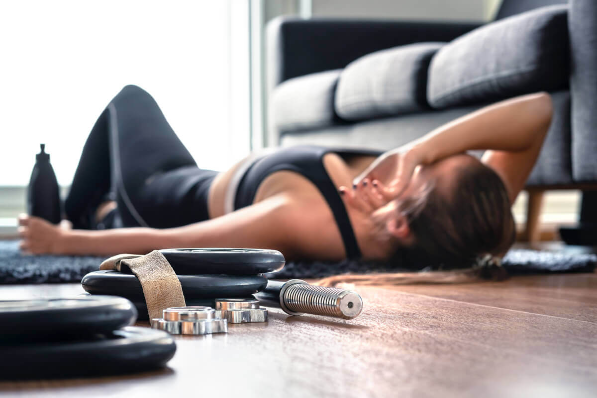 A woman tired due to exercise.