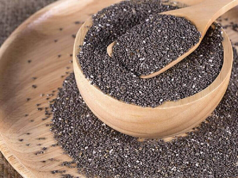 A bowl of chia seeds.