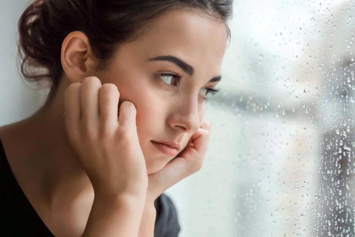 A woman reflecting