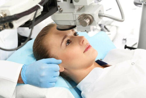 A woman undergoing ophthalmological treatment.