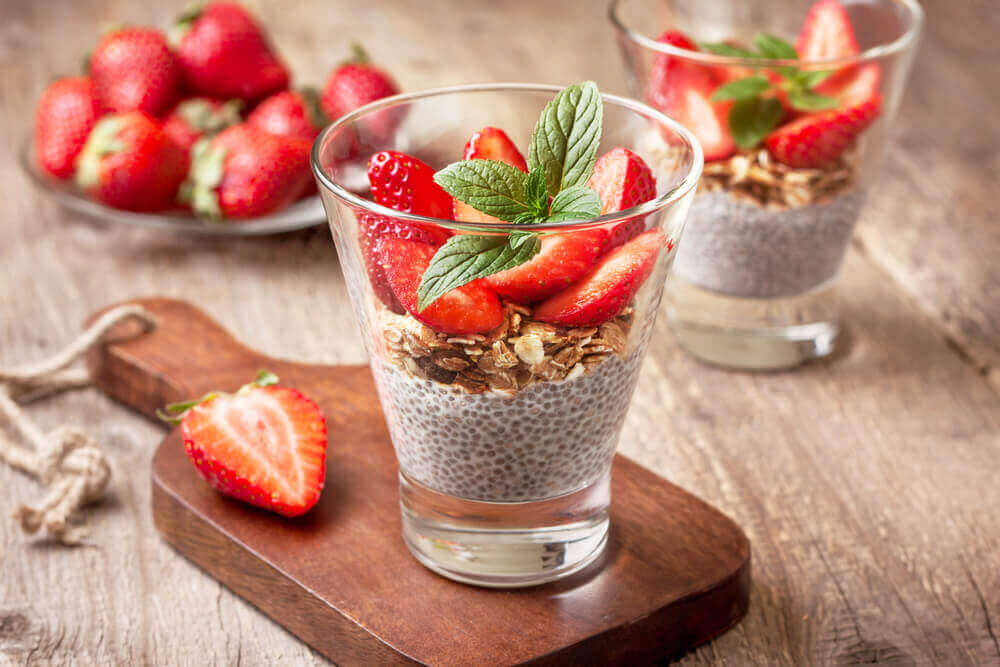 Chia pudding with strawberries.