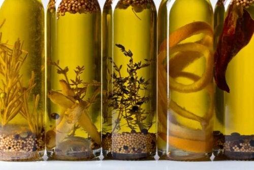 Several bottles of infused oil.