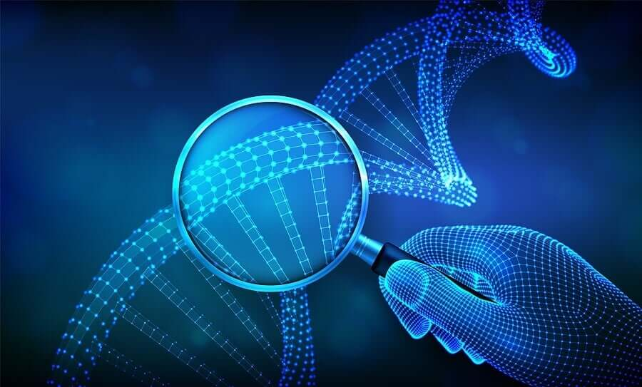 A computer image of a magnifying glass looking at a strand of DNA.