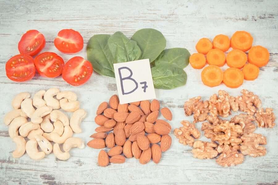 Quellen von Vitamin B7.