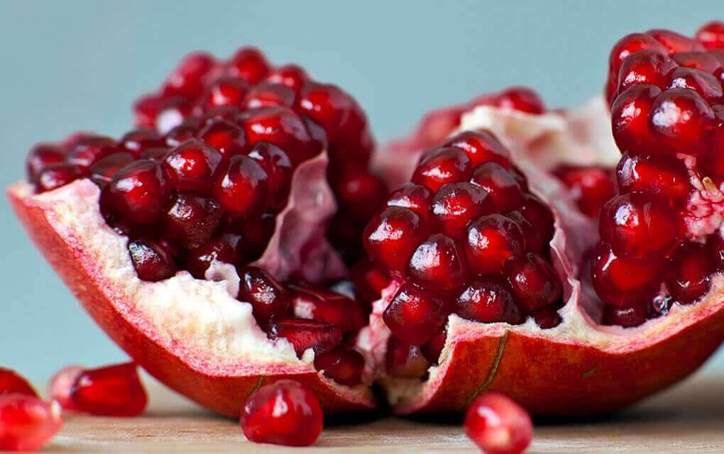 A cut up pomegranate.