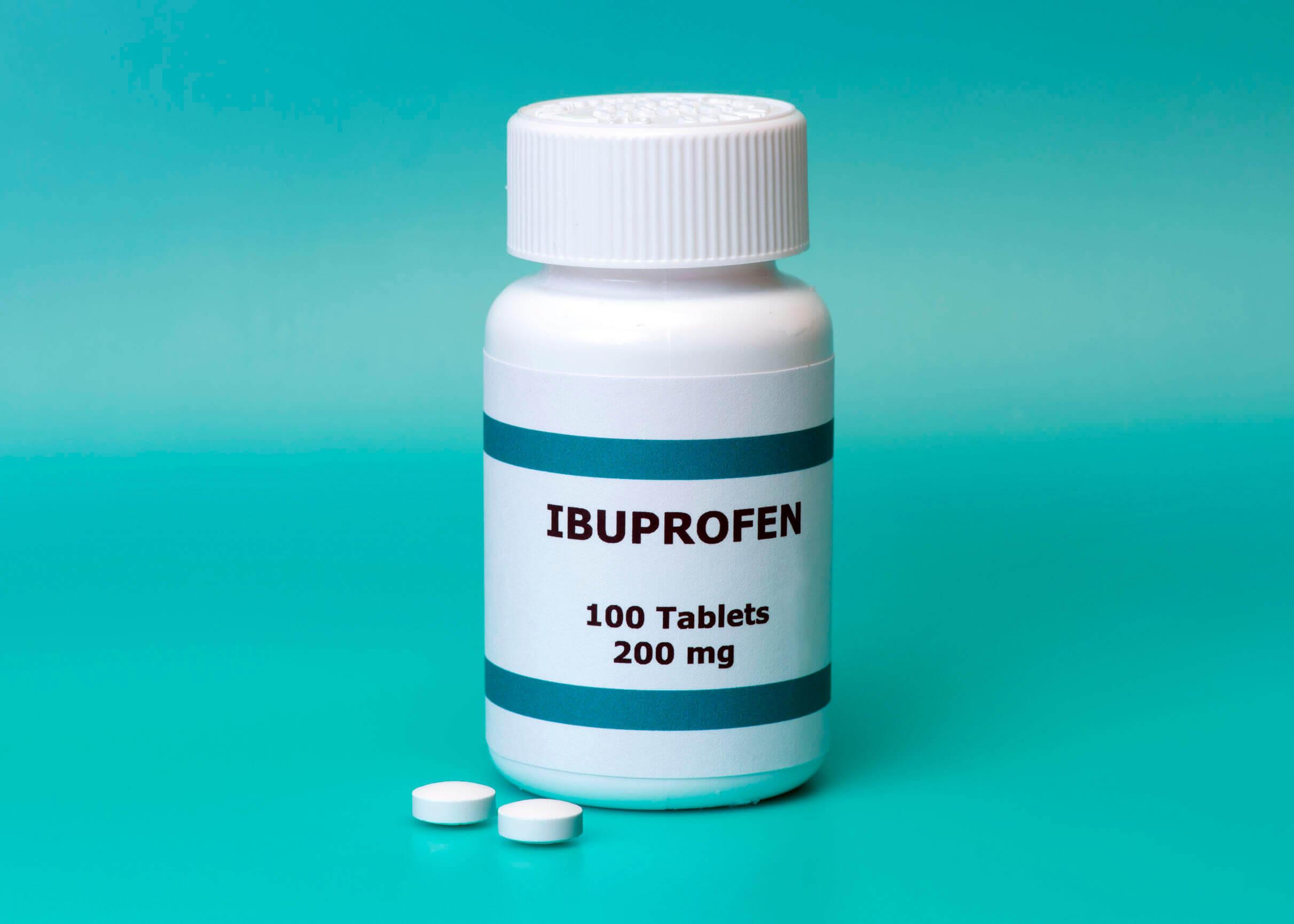An ibuprofen bottle.