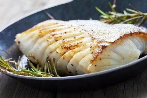 White fish on a dish.