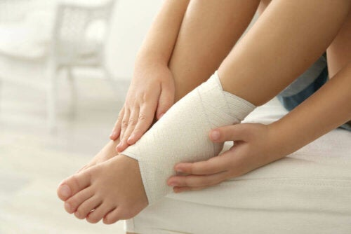 A person with a bandaged foot.