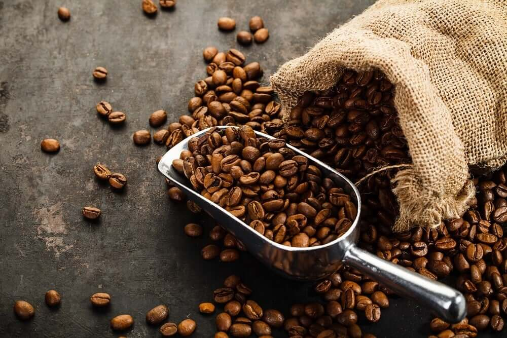 A scoop of coffee beans.