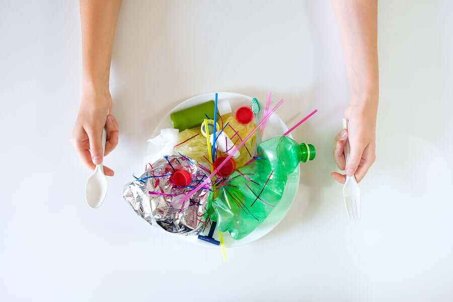 A person getting ready to enjoy a plate full of plastic waste.