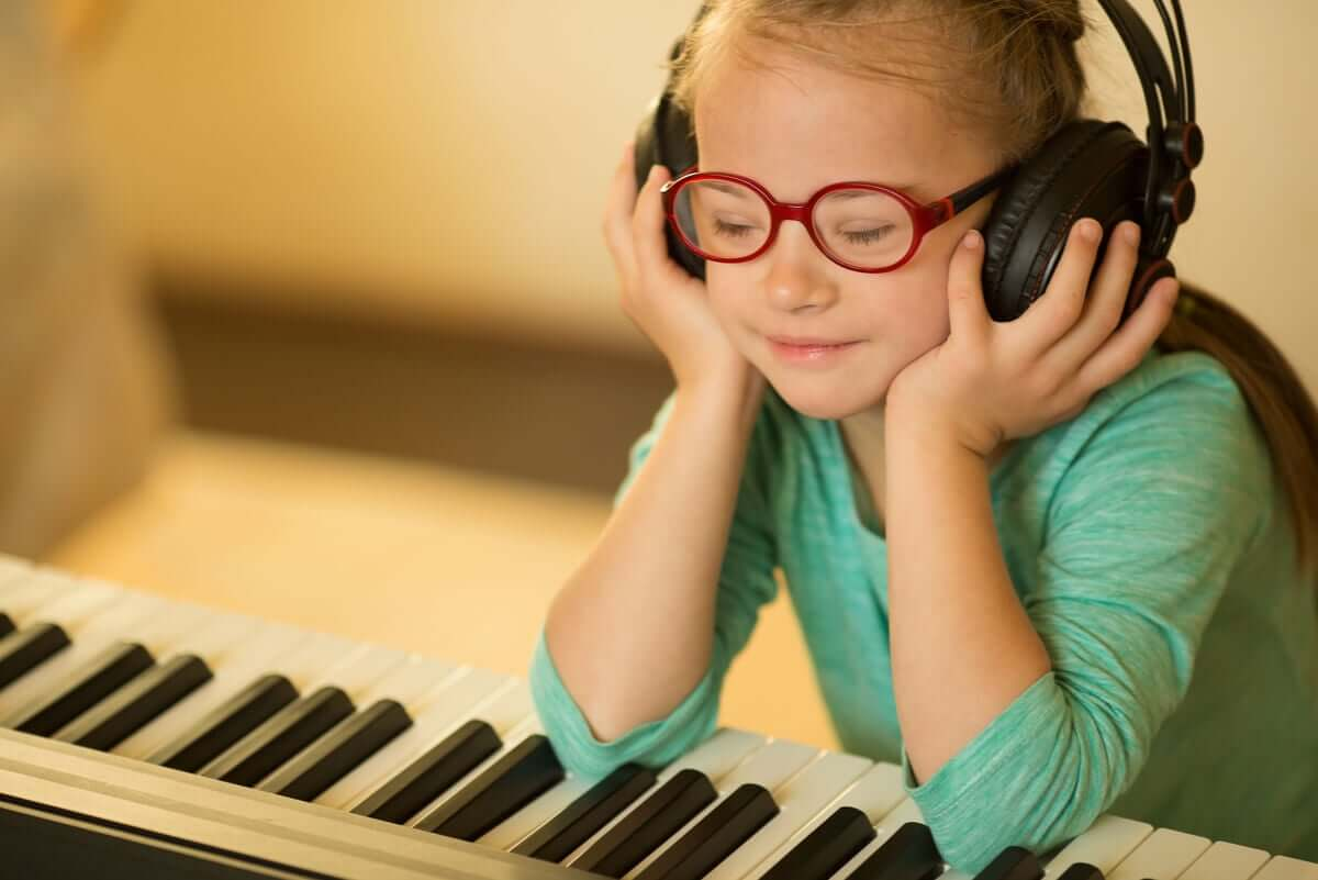 A child listening to music.