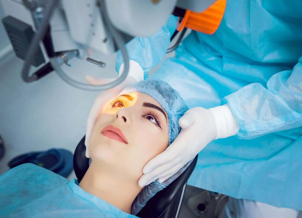 A woman getting laser surgery.