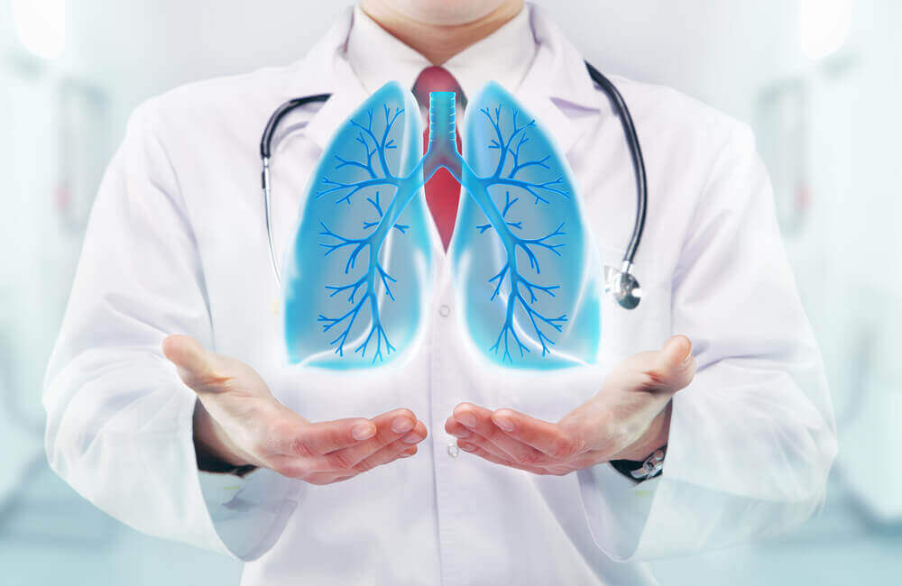 A doctor holding what appears to be a digital image of the lungs.