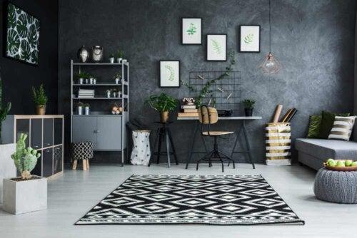 A gray room.
