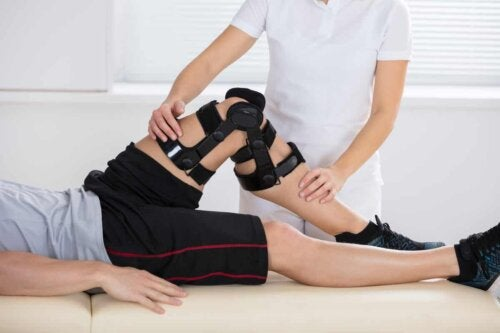 A person undergoing physical rehabilitation.