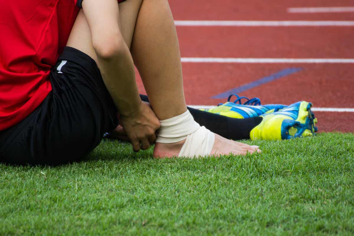 A sprained ankle on a soccer field