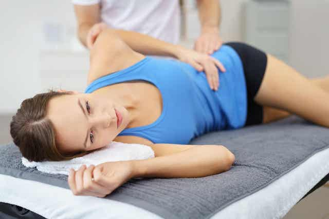 A woman doing physical therapy.