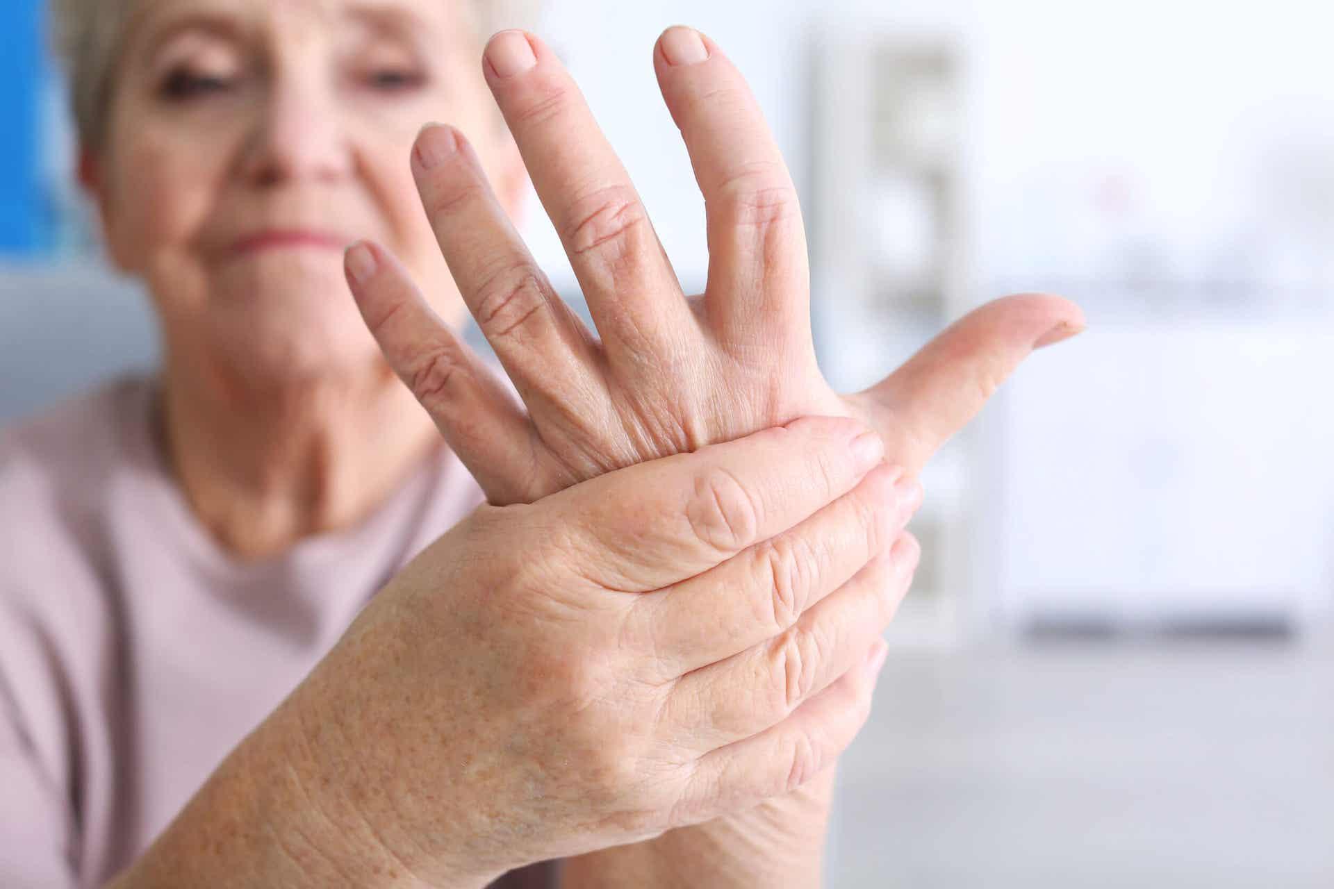 A woman with arthritis pain.