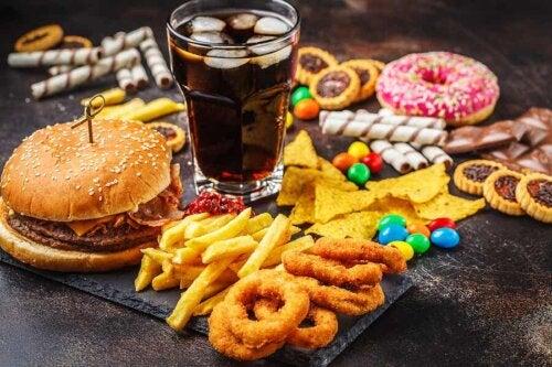 An array of junk food.