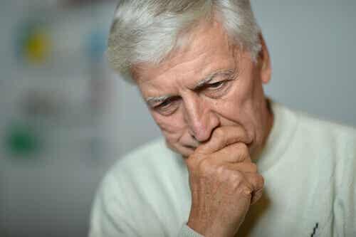 An older man thinking