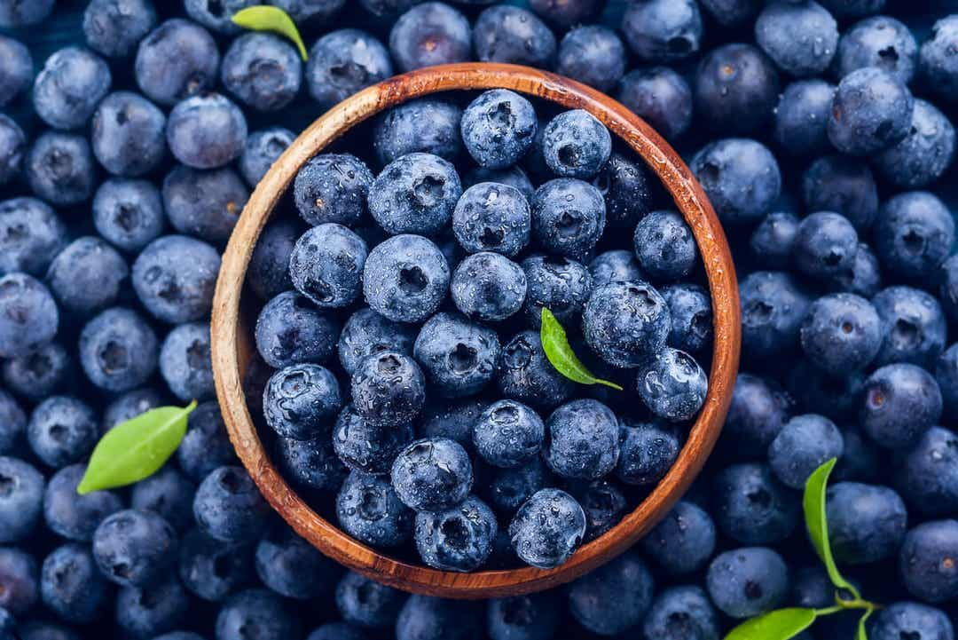 Fresh blueberries in a wooden bowl, surrounded by more fresh blueberries.
