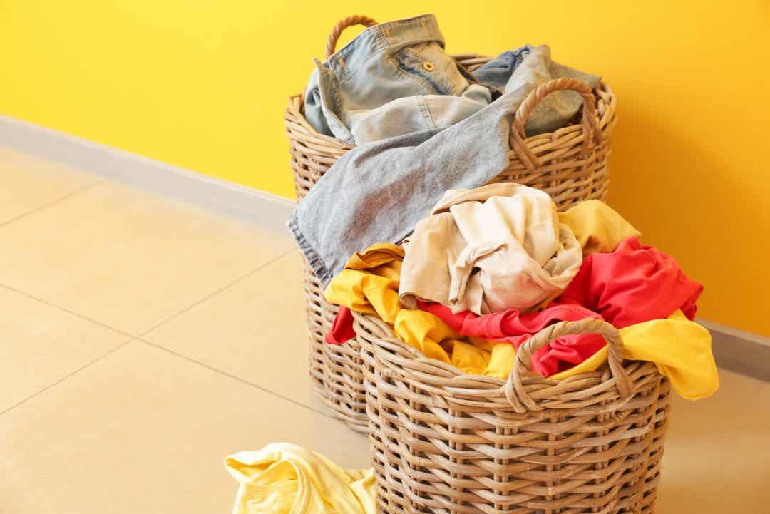 Dirty laundry in wicker baskets.