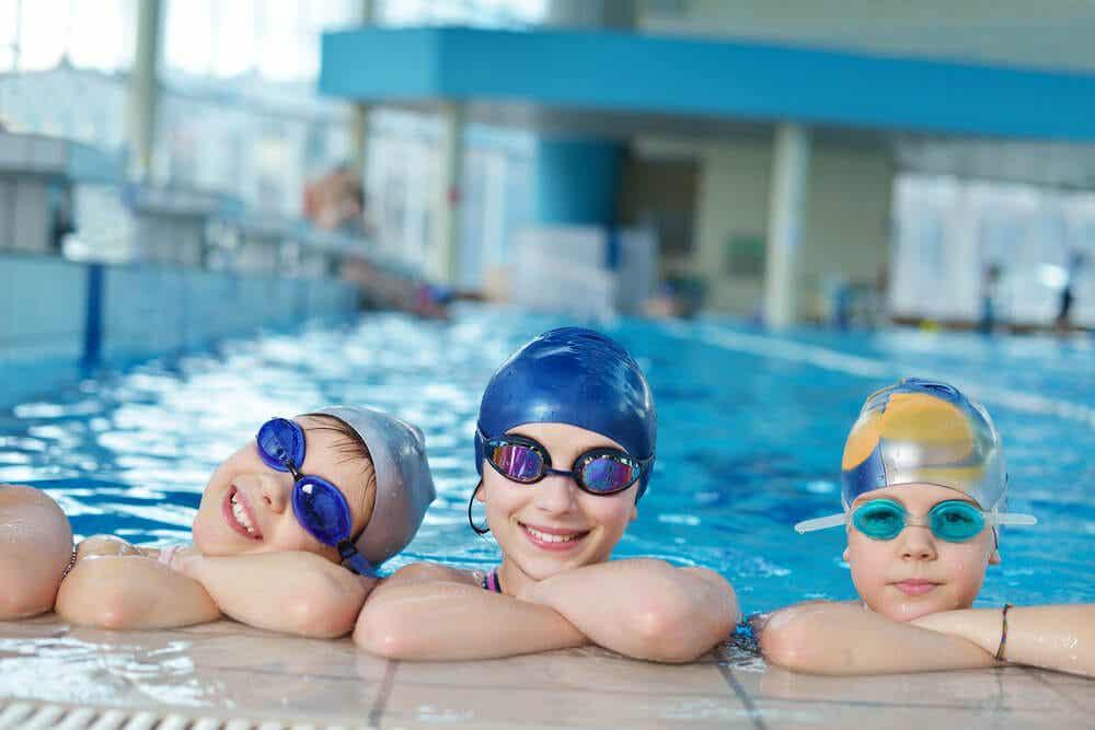 Kids in a pool.