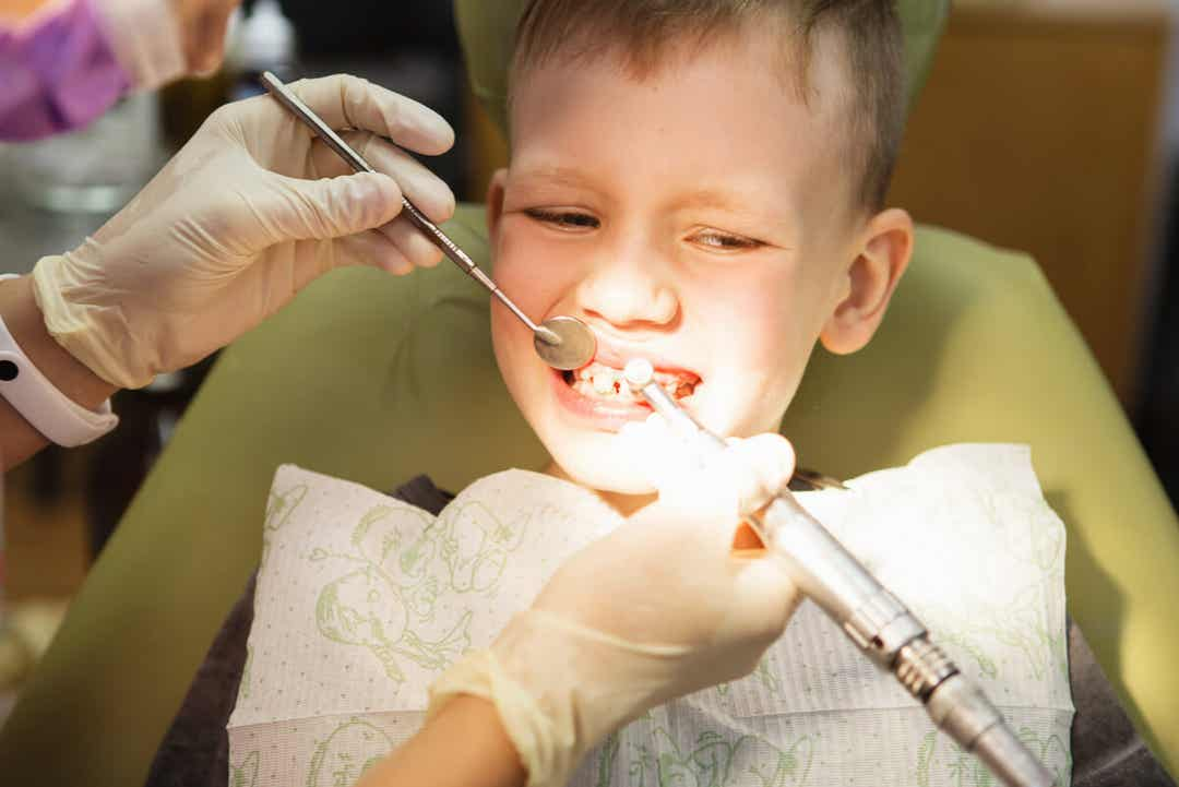 A child at the orthodontist.