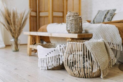 boho style front room with tassels