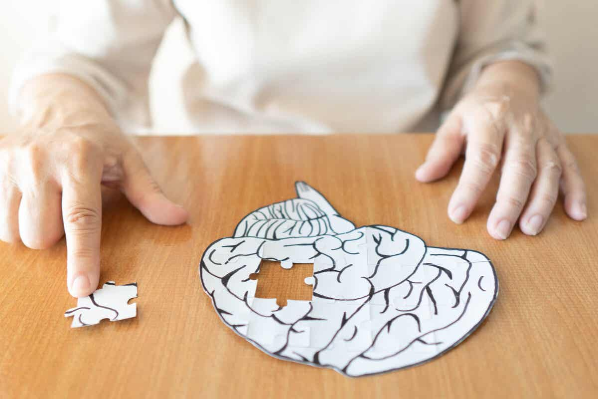 A woman doing a brain puzzle.