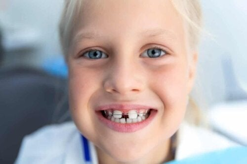 A child with corrective braces.