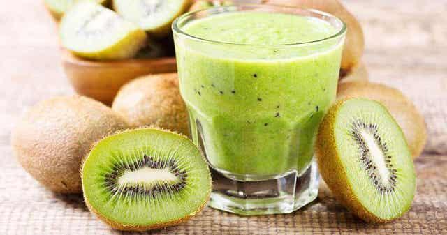 A cup of kiwi juice.