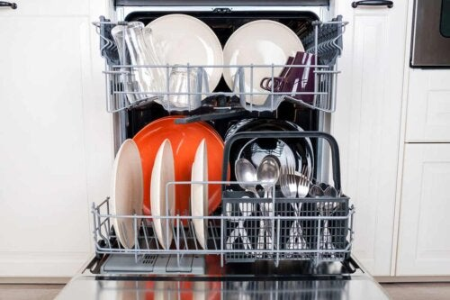A loaded dishwasher.