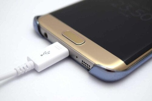 A phone charging.