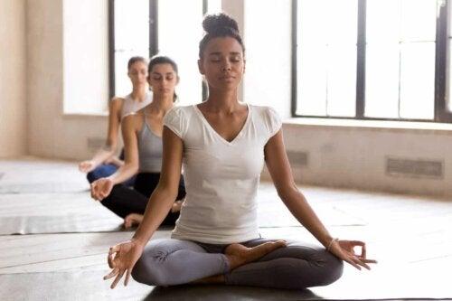 A yoga group.