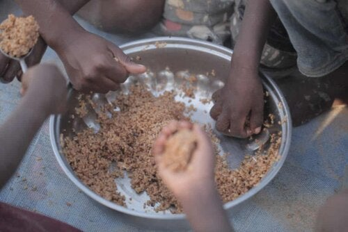 Børn spiser af samme tallerken