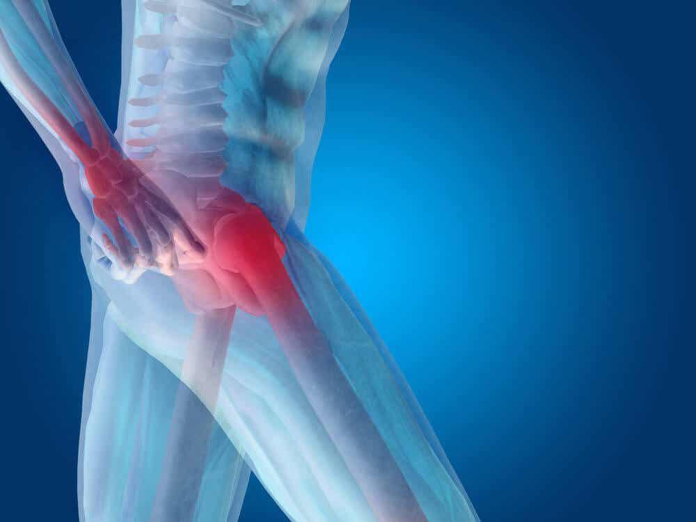 Et digitalt billede af en mand med hoftesmerter