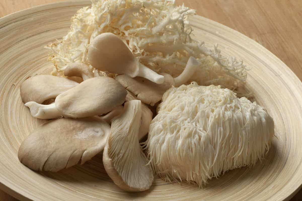 Lions mane mushrooms in a bowl