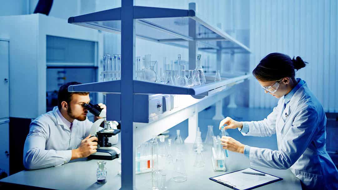 Lab technicians analyzing a thyroid biopsy.
