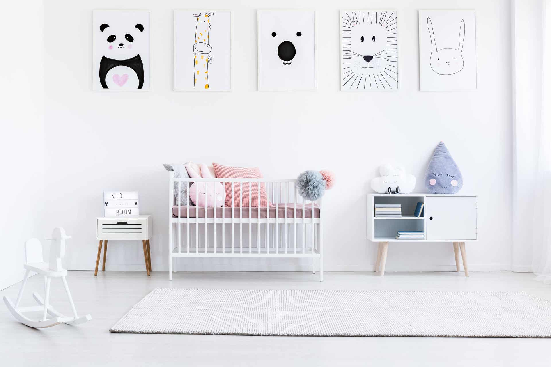 Animal wall art hanging in a child's bedroom.