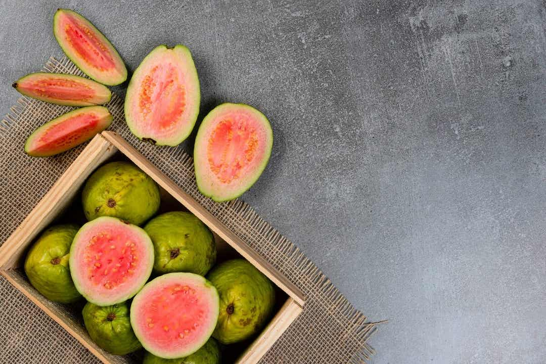 A crate of fresh guava.