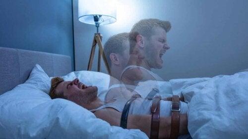 Kunstnerisk fortolkning af mennesket i sengen under søvnlammelse