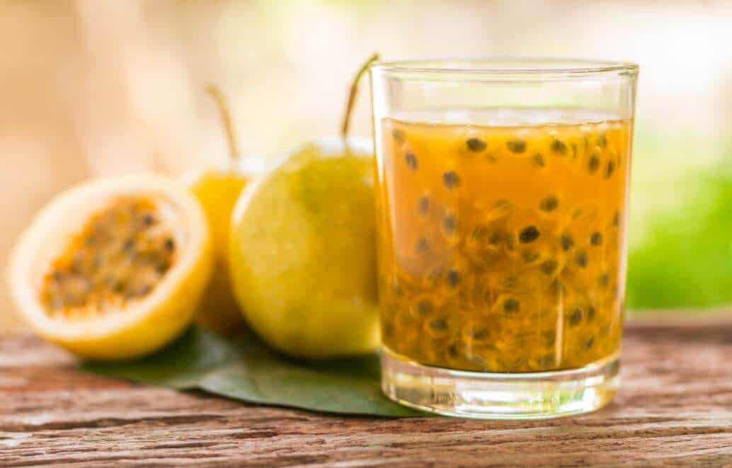 A beverage made from passion fruit.