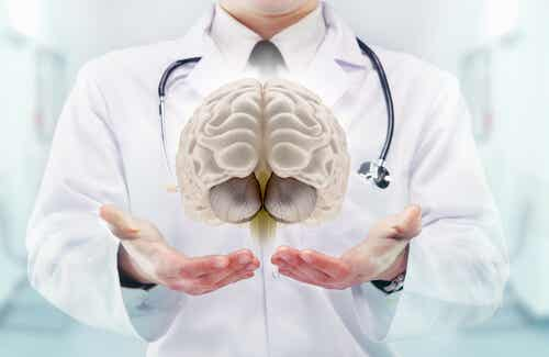 A doctor with a floating brain.