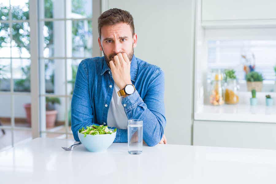A man anxious about food.